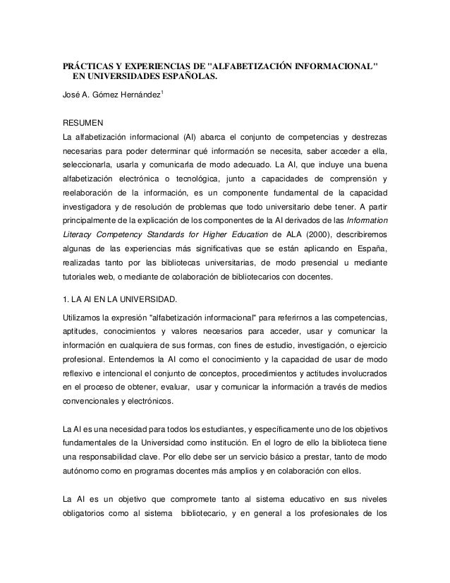 """PRÁCTICAS Y EXPERIENCIAS DE """"ALFABETIZACIÓN INFORMACIONAL""""  EN UNIVERSIDADES ESPAÑOLAS.José A. Gómez Hernández1RESUMENLa a..."""