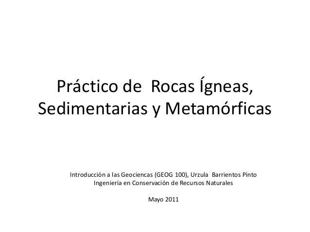 Práctico de Rocas Ígneas,Sedimentarias y Metamórficas   Introducción a las Geociencas (GEOG 100), Urzula Barrientos Pinto ...