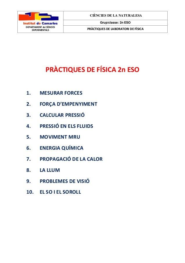 Institut de Camarles  DEPARTAMENT de CIÈNCIES  EXPERIMENTALS  CIÈNCIES DE LA NATURALESA  Grup/classe: 2n ESO  PRÀCTIQUES D...