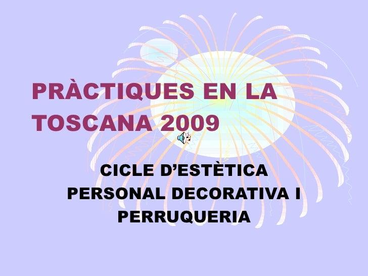 PRÀCTIQUES EN LA TOSCANA 2009 CICLE D'ESTÈTICA PERSONAL DECORATIVA I PERRUQUERIA