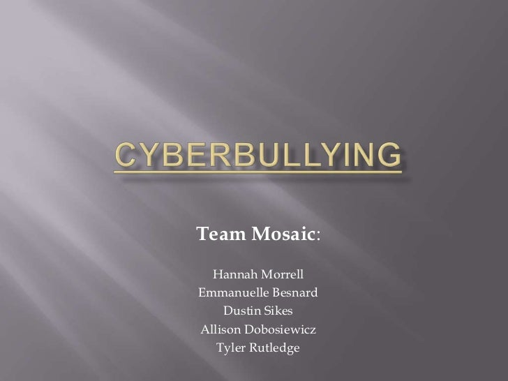 Team Mosaic:  Hannah MorrellEmmanuelle Besnard    Dustin SikesAllison Dobosiewicz   Tyler Rutledge