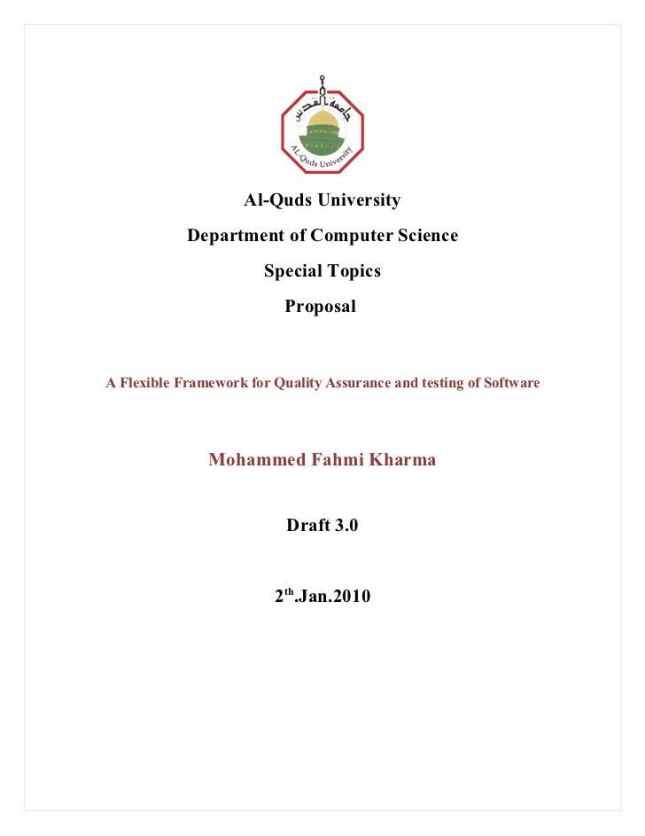 Al-Quds University            Department of Computer Science                        Special Topics                        ...