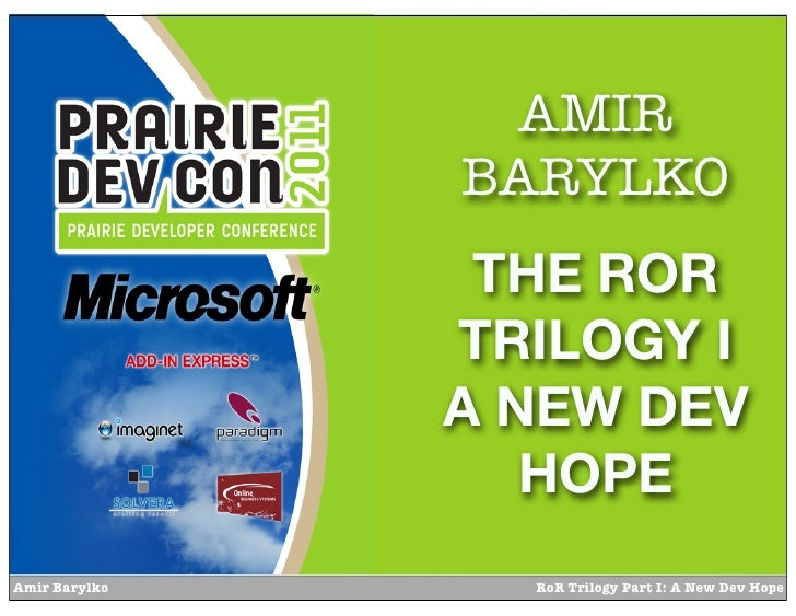 AMIR               BARYLKO                THE ROR               TRILOGY I               A NEW DEV                  HOPEAmi...