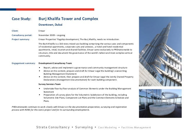 Strata Consultancy • Surveying • Cost Modeling • Facilities ManagementCase Study: Burj Khalifa Tower and ComplexDowntown, ...