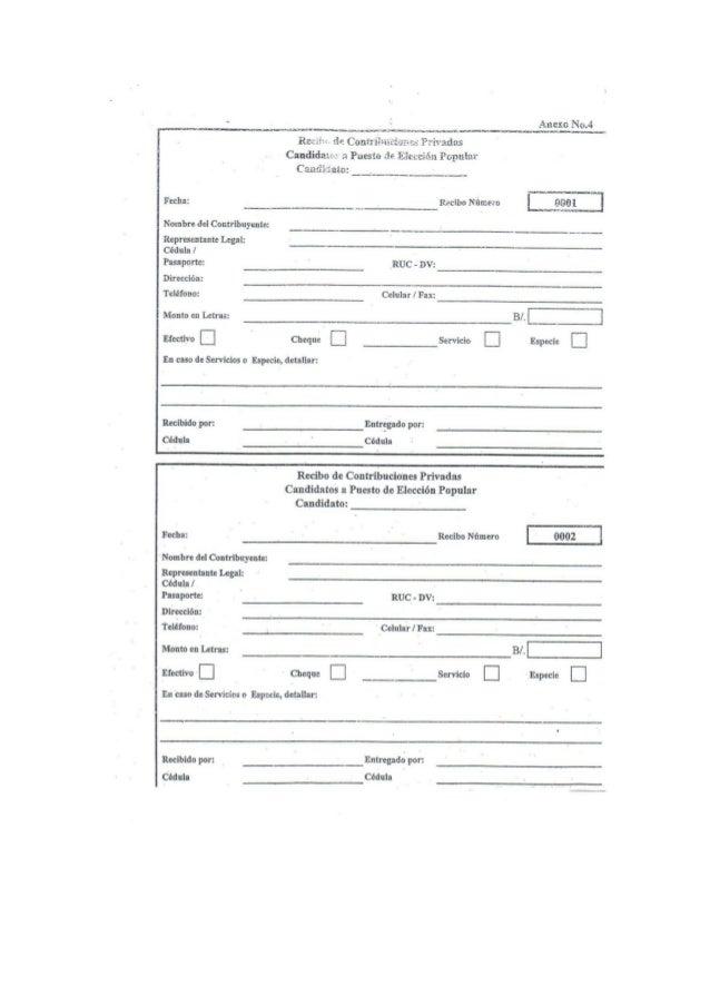 Formularios registro de contribuciones privadas durante campaña 2014