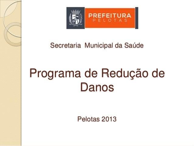 Secretaria Municipal da Saúde  Programa de Redução de Danos Pelotas 2013