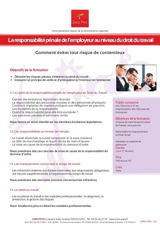 Votre partenaire expert de la rémunération salariale  La responsabilité pénale de l'employeur au niveau du droit du travai...