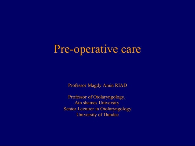 pre operative Objectives preoperative anxiety has a significant effect on the outcome of anesthesia and surgery at present, there is no published data on the preoperative anxiety levels in sri lankan patients.
