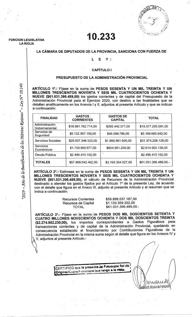 Presupuesto de la provincia de La Rioja 2020