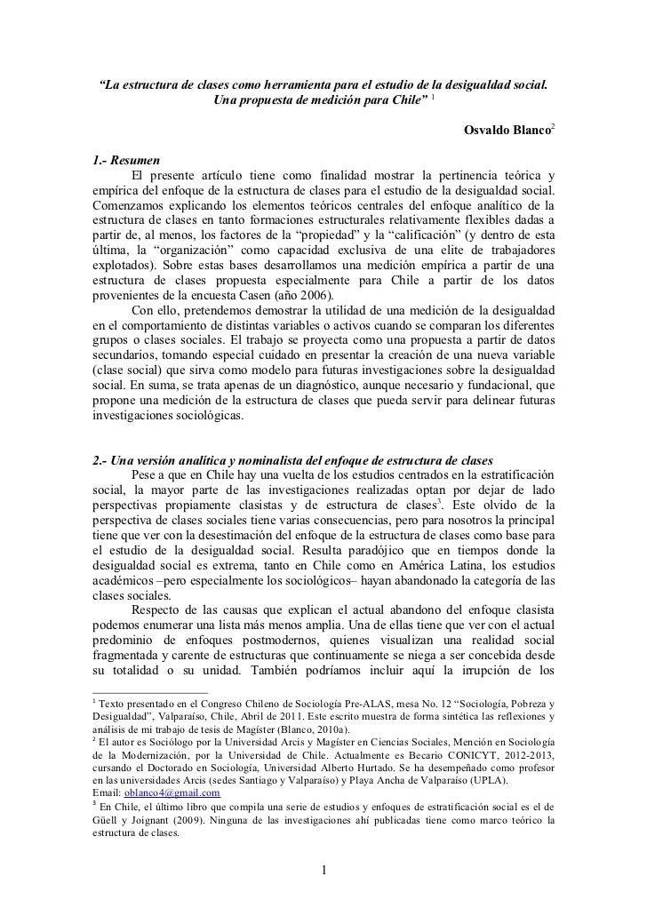"""""""La estructura de clases como herramienta para el estudio de la desigualdad social.                         Una propuesta ..."""