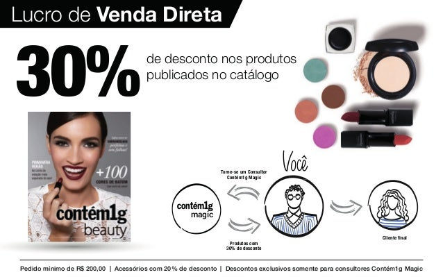 30%de desconto nos produtos publicados no catálogo Pedido mínimo de R$ 200,00 | Acessórios com 20% de desconto | Descontos...