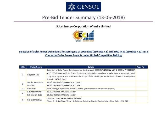 Pre-Bid Tender Summary (13-05-2018) Solar Energy Corporation of India Limited Selection of Solar Power Developers for Sett...