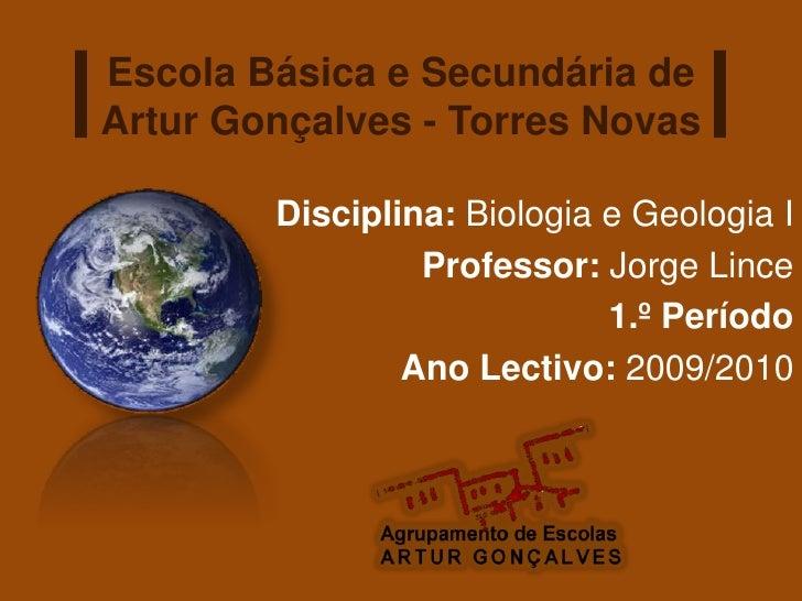 Escola Básica e Secundária de Artur Gonçalves - Torres Novas          Disciplina: Biologia e Geologia I                  P...