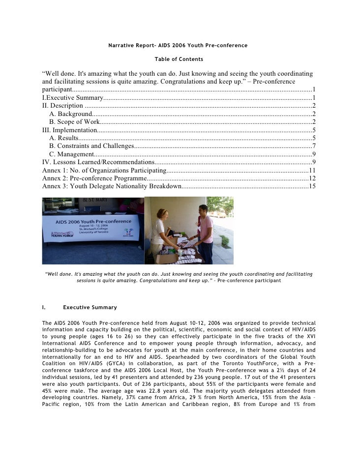 Narrative Report– AIDS 2006 Youth Pre-conference                                                            Table of Conte...