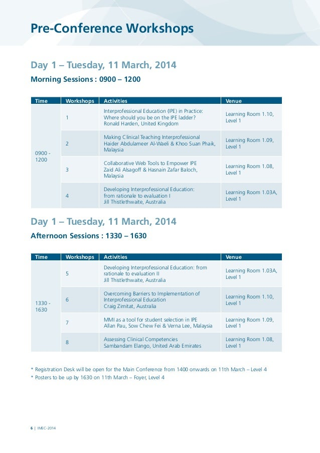 Pre-Conference Workshops Day 1 – Tuesday, 11 March, 2014 Morning Sessions : 0900 – 1200 Time  Workshops  Activities  Venu...