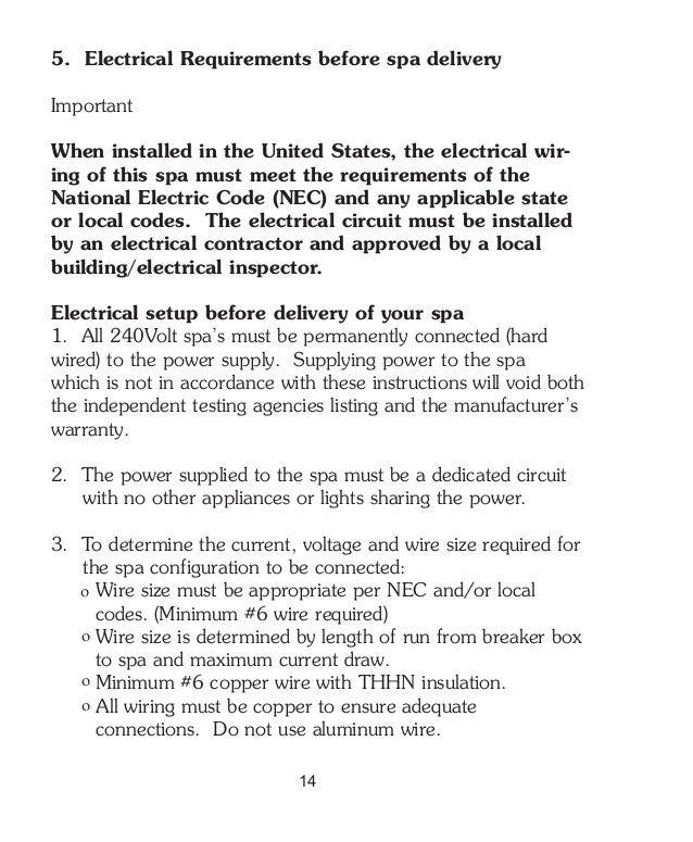 hot tub outpost pre delivery guide14 5 electrical requirements before spa delivery important when installed in the