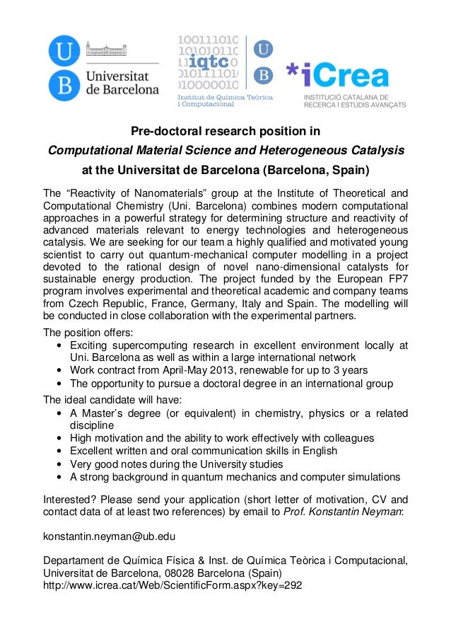 Pre-doctoral research position inComputational Material Science and Heterogeneous Catalysis        at the Universitat de B...