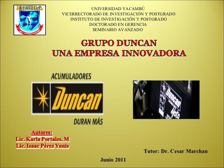 UNIVERSIDAD YACAMBÚ  VICERRECTORADO DE INVESTIGACIÓN Y POSTGRADO  INSTITUTO DE INVESTIGACIÓN Y POSTGRADO DOCTORADO EN GERE...