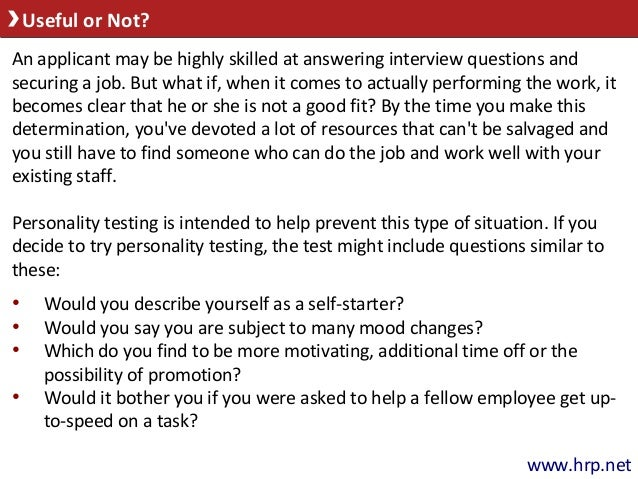 Pre-Employment Personality Tests May Be Helpful but Exercise