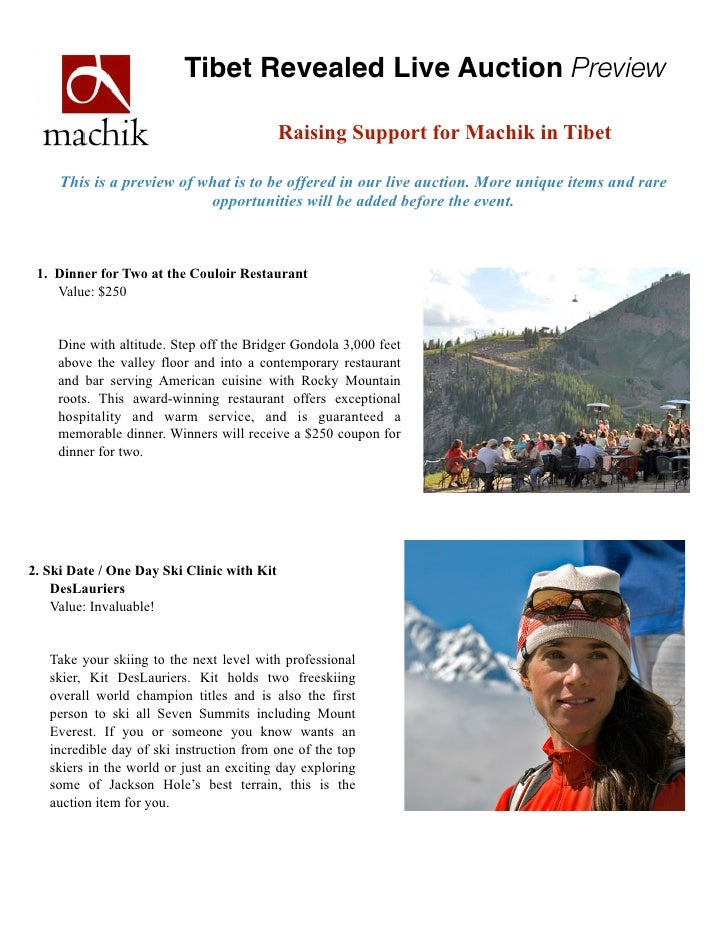 Tibet Revealed Live Auction Preview                                            Raising Support for Machik in Tibet     Thi...