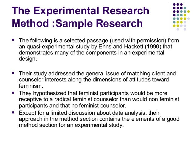 Experimental research methodology