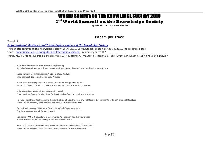WSKS 2010 Conference Programs and List of Papers to be Presented                                                       WOR...