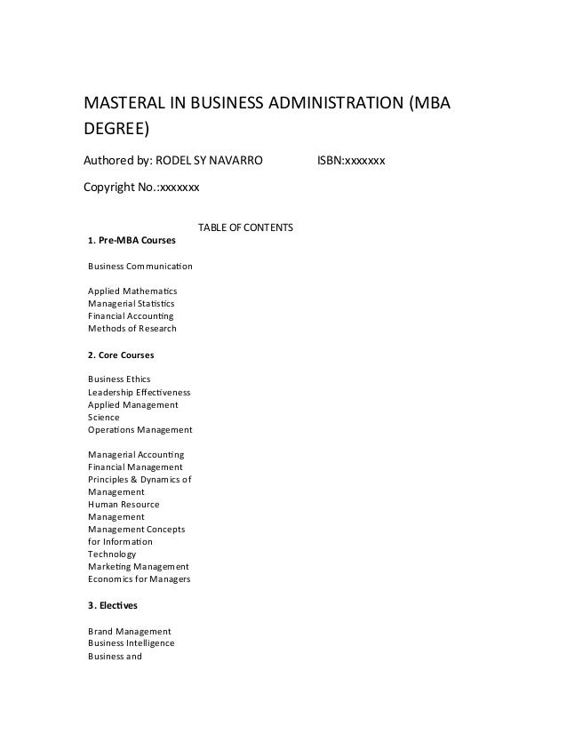 Master of Business Administration (Cohort) Degree