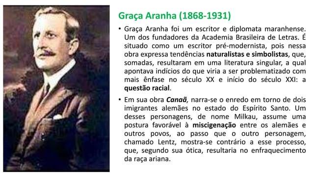 Graça Aranha (1868-1931) • Graça Aranha foi um escritor e diplomata maranhense. Um dos fundadores da Academia Brasileira d...