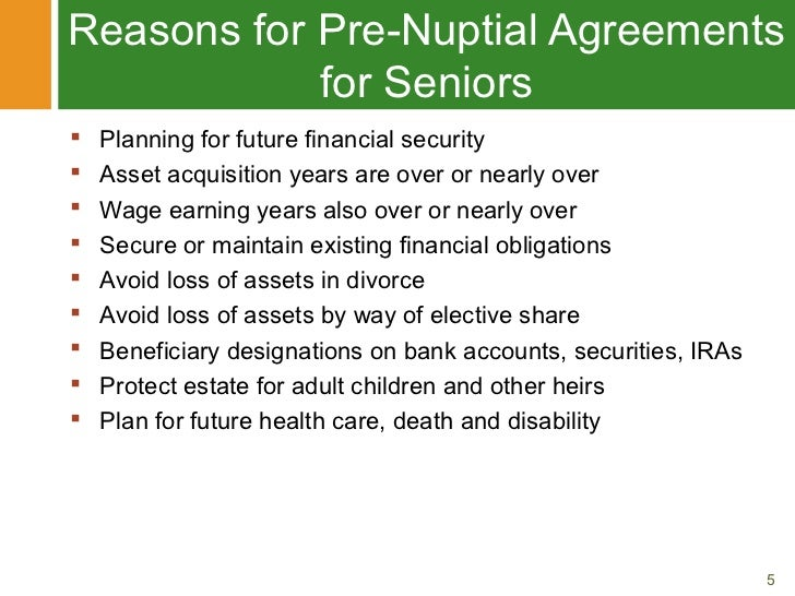 Pre Nuptial Agreements For Later In Life Marriages