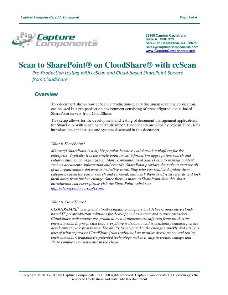 Capture Components, LLC Document                                                                 Page 1 of 6              ...