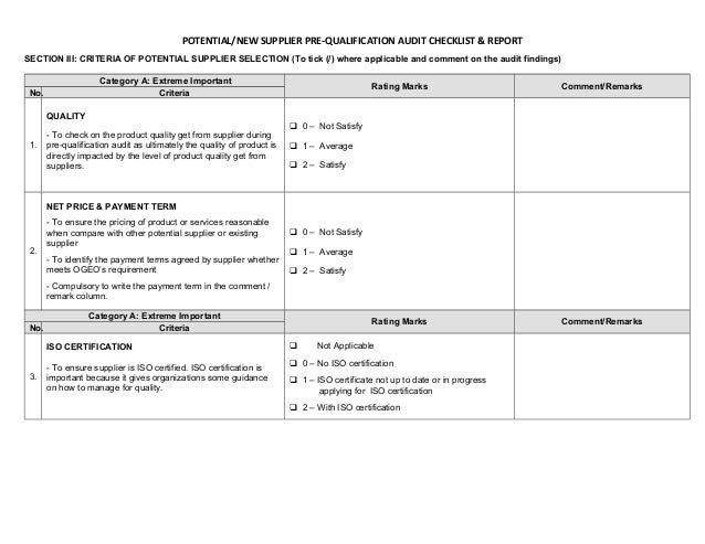 Pre qualification audit checklist report for New home selections checklist