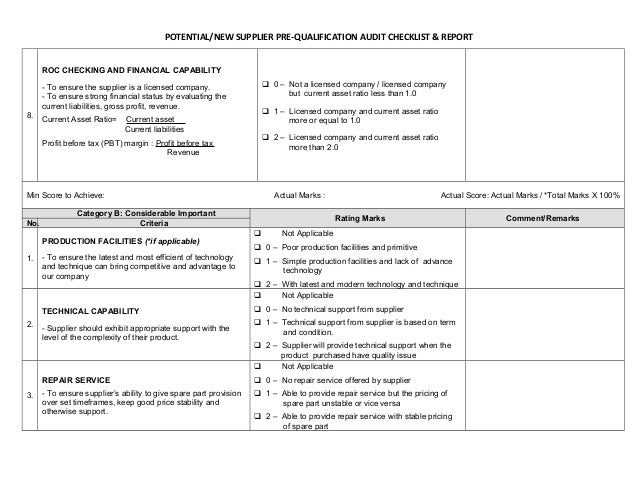 Supplier audit checklist for Supplier audit plan template