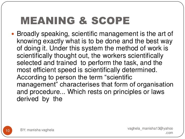 definition of management management theory Scientific management theory was developed in the early 20th century by frederick w taylor we will be exploring the primary principles of.