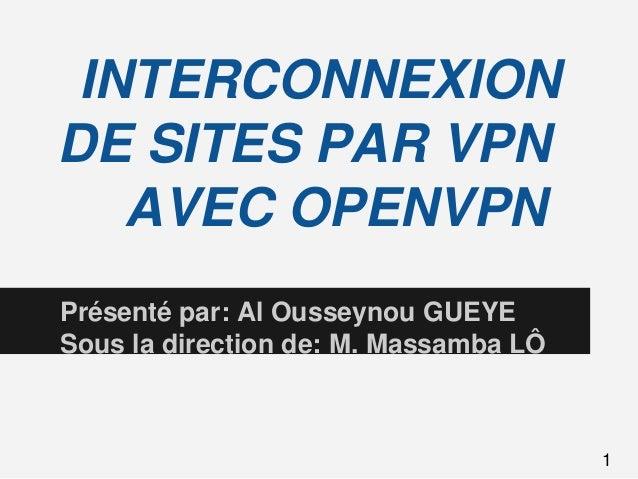 INTERCONNEXIONDE SITES PAR VPNAVEC OPENVPNPrésenté par: Al Ousseynou GUEYESous la direction de: M. Massamba LÔ1