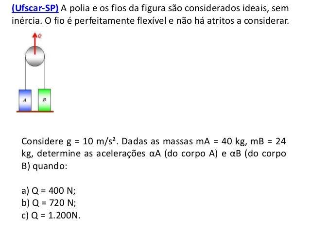 (Ufscar-SP) A polia e os fios da figura são considerados ideais, sem inércia. O fio é perfeitamente flexível e não há atri...