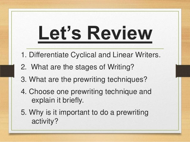 essay prewriting techniques Undergraduate writing level 1 page creative writing format style english (us) essay what is the purpose of prewriting as part of the writing process describe some examples of prewriting.