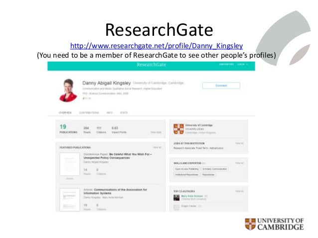 ResearchGate http://www.researchgate.net/profile/Danny_Kingsley (You need to be a member of ResearchGate to see other peop...