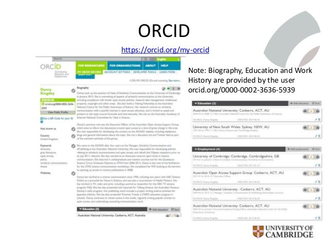 ORCID https://orcid.org/my-orcid Note: Biography, Education and Work History are provided by the user orcid.org/0000-0002-...