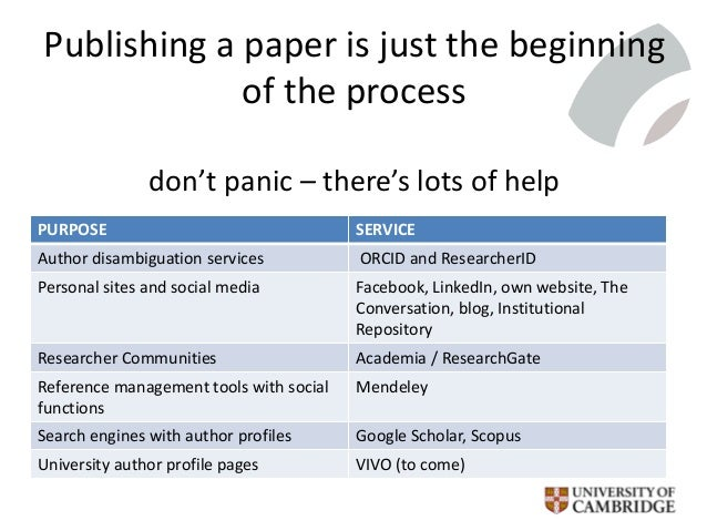 Publishing a paper is just the beginning of the process don't panic – there's lots of help PURPOSE SERVICE Author disambig...