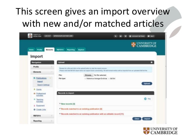 This screen gives an import overview with new and/or matched articles