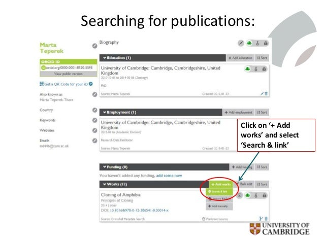 Searching for publications: Click on '+ Add works' and select 'Search & link'