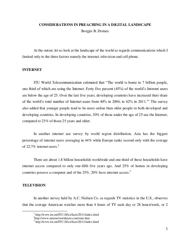 CONSIDERATIONS IN PREACHING IN A DIGITAL LANDSCAPE                                             Borgjie B. Distura       At...