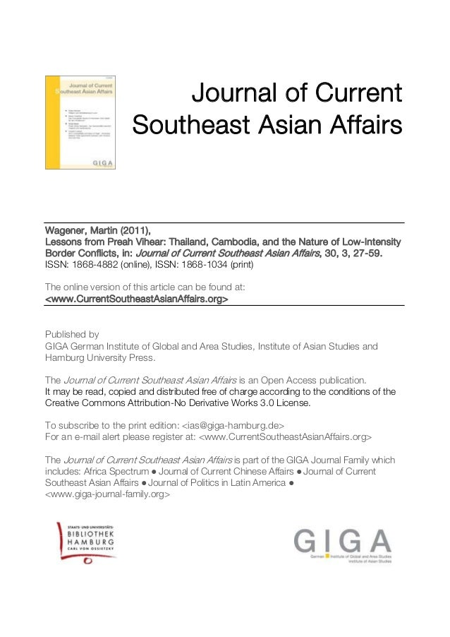 Journal of Current Southeast Asian Affairs  Wagener, Martin (2011), Lessons from Preah Vihear: Thailand, Cambodia, and the...