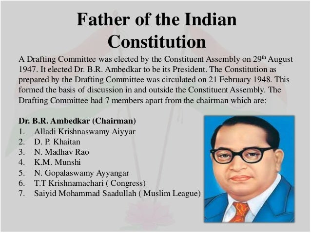 ambedkar s contribution to indian constitution Dr bhimrao ramji ambedkar (april 14, 1891 — december 6, 1956) was an indian jurist, scholar, bahujan political leader and a buddhist revivalist, who is the chief architect of the indian constitution, also known as babasaheb.