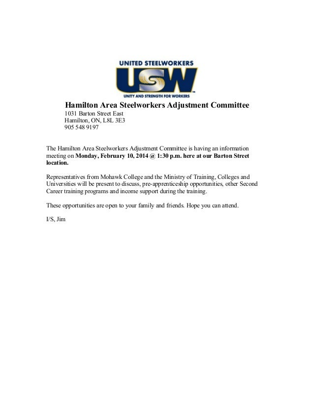 Hamilton Area Steelworkers Adjustment Committee 1031 Barton Street East Hamilton, ON, L8L 3E3 905 548 9197 The Hamilton Ar...