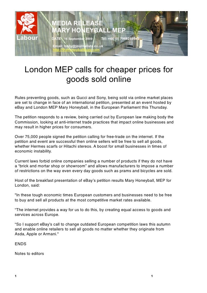 MEDIA RELEASE                     MARY HONEYBALL MEP     Labour          DATE 16 September 2009       Tel: +44 (0) 7966280...