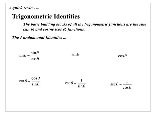 A quick review   Trigonometric Identities  The basic building blocks of all the trigonometric functions are the sine (sin ...