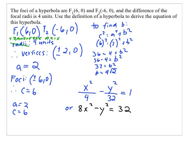The foci of a hyperbola are F1(6, 0) and F2(-6, 0), and the difference of the focal radii is 4 units. Use the definition o...