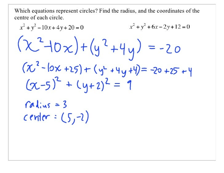 Which equations represent circles? Find the radius, and the coordinates of the centre of each circle.