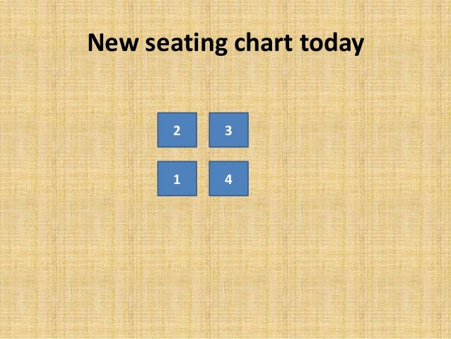 New seating chart today 2 3 1 4